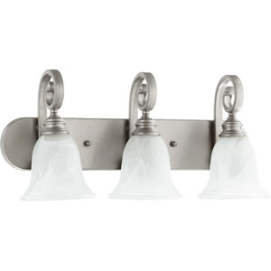 Bryant Classic Nickel Three Light Vanity Fixture with Faux Alabaster Glass