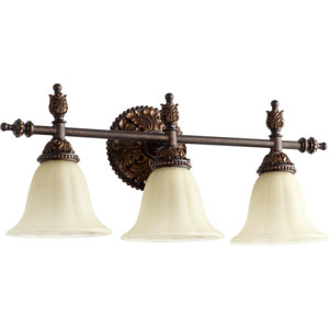 Rio Salado Toasted Sienna and Mystic Silver Three Light Vanity Fixture with Amber Linen Glass