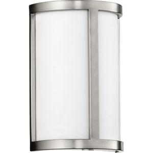 Omega Satin Nickel Two Light Wall Sconce with White Glass