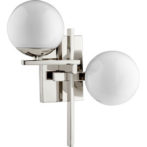 Atom Polished Nickel with Opal Two-Light 14-Inch Wall Mount