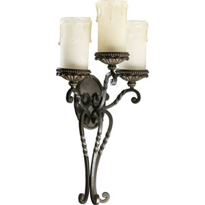 Alameda Three-Light Oiled Bronze with Antique Gold Sconce