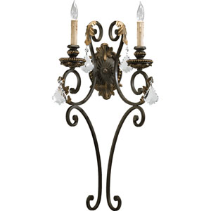 Rio Salado Two-Light Toasted Sienna with Mystic Silver Sconce
