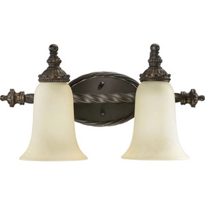 Alameda Two-Light Oiled Bronze with Antique Gold Bath Fixture