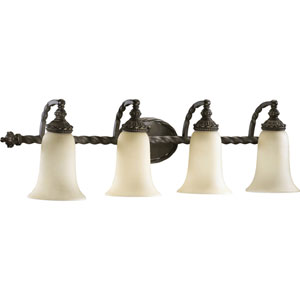 Alameda Four-Light Oiled Bronze with Antique Gold Bath Fixture