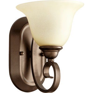 Celesta Oiled Bronze One Light Wall Mounted Fixture with Amber Scavo Glass