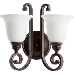 Bryant Oiled Bronze with Satin Opal Glass Two-Light Wall Sconce