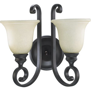 Bryant Two-Light Oiled Bronze with Antique Gold Sconce