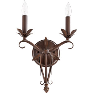 Flora Vintage Copper 10.5-Inch Two-Light Wall Sconce