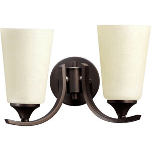Winslet Ii Oiled Bronze Two Light Wall Mounted Fixture with Linen Glass