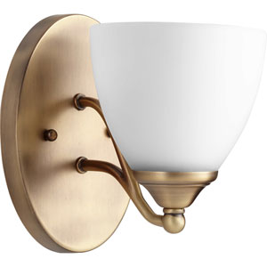 Brooks Aged Brass with Satin Opal Glass One-Light Wall Sconce