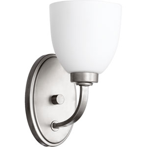 Reyes Classic Nickel One Light Wall Mounted Fixture with Satin Opal Glass