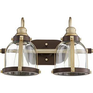 Aged Brass with Oiled Bronze Two-Light 16-Inch Bath Vanity
