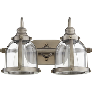 Antique Silver Two-Light 16-Inch Bath Vanity