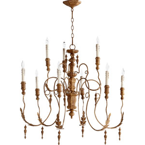 Salento French Umber 34-Inch Nine Light Chandelier