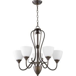 Powell Oiled Bronze with Satin Opal Glass Five-Light Chandelier