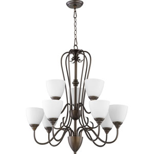 Powell Oiled Bronze with Satin Opal Glass Nine-Light Chandelier