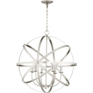 Celeste Satin Nickel Six-Light 26-Inch Pendant
