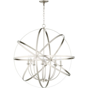 Celeste Satin Nickel Eight-Light 33-Inch Pendant