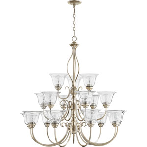 Spencer Aged Silver Leaf with Clear Seeded Glass Eighteen-Light Chandelier