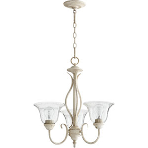 Spencer Persian White with Clear Seeded Glass Three-Light Chandelier
