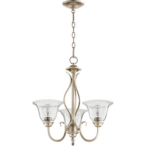 Spencer Aged Silver Leaf with Clear Seeded Glass Three-Light Chandelier