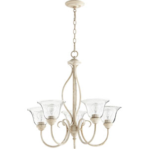 Spencer Persian White with Clear Seeded Glass Five-Light Chandelier