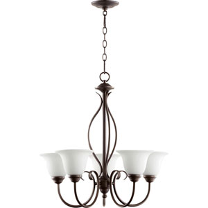 Spencer Oiled Bronze with Satin Opal Glass Five-Light Chandelier