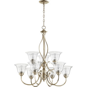 Spencer Aged Silver Leaf with Clear Seeded Glass Nine-Light Chandelier