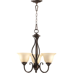 Spencer Oiled Bronze Three-Light Chandelier with Amber Scavo Glass
