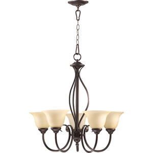 Spencer Oiled Bronze Five-Light Chandelier with Amber Scavo Glass