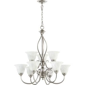 Spencer Classic Nickel Nine Light Chandelier with Faux Alabaster Glass