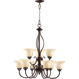 Spencer Oiled Bronze Nine-Light Chandelier with Amber Scavo Glass