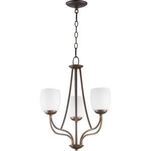 Willingham Oiled Bronze with Satin Opal Glass Three-Light Chandelier