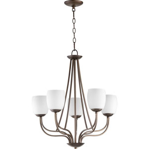 Willingham Oiled Bronze with Satin Opal Glass Five-Light Chandelier