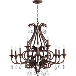 Anders Oiled Bronze 34-Inch Twelve-Light Chandelier