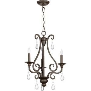Anders Oiled Bronze Three Light Chandelier with Clear Crystal