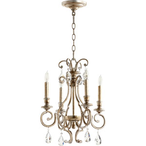 Ansley Aged Silver Leaf Four-Light 16-Inch Chandelier