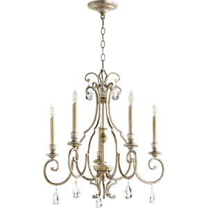 Ansley Aged Silver Leaf Five-Light 24-Inch Chandelier