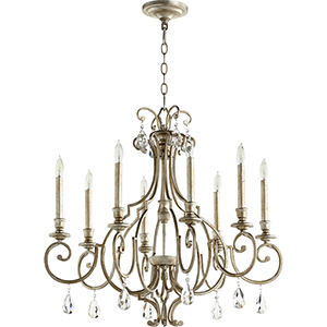Ansley Aged Silver Leaf Eight-Light 29-Inch Chandelier