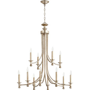 Rossington Aged Silver Leaf Twelve-Light 32-Inch Chandelier