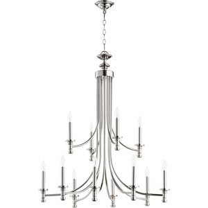 Rossington Polished Nickel Twelve-Light 32-Inch Chandelier