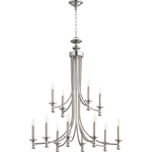 Rossington Satin Nickel Twelve-Light 32-Inch Chandelier