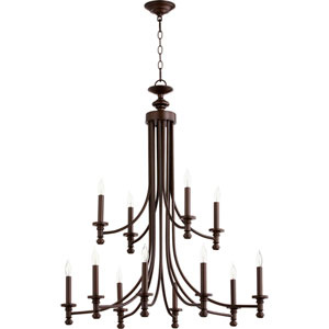 Rossington Oiled Bronze Twelve-Light 32-Inch Chandelier