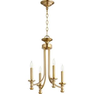 Rossington Aged Brass Four-Light 14-Inch Chandelier