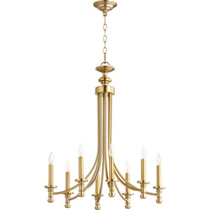 Rossington Aged Brass Eight-Light 25-Inch Chandelier