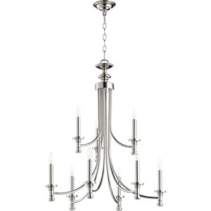 Rossington Polished Nickel Nine-Light 27-Inch Two-Tier Chandelier