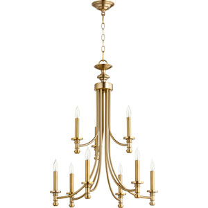 Rossington Aged Brass Nine-Light 27-Inch Two-Tier Chandelier