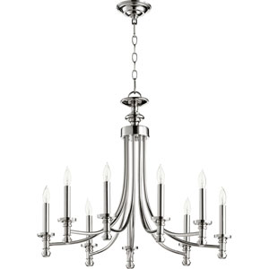 Rossington Polished Nickel Nine-Light 27-Inch Chandelier