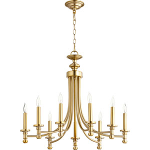 Rossington Aged Brass Nine-Light 27-Inch Chandelier