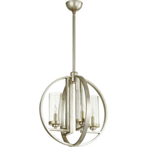 Julian Aged Silver Leaf with Clear Seeded Glass Four-Light Chandelier